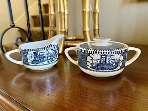 Vintage Currier And Ives Blue Creamer And Sugar Bowl $10.50