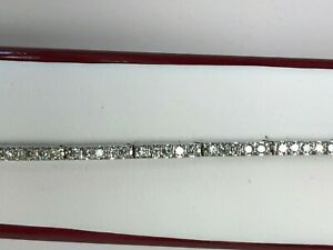 DIAMOND TENNIS BRACELET 14 K White Gold 7 INCH 7.8 Grams