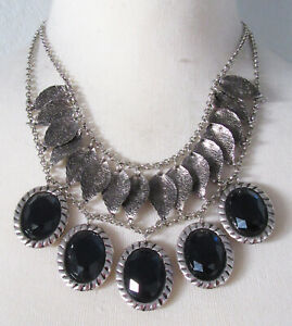 Chico#x27;s Jewelry Blue Necklace in Antiqued Silver