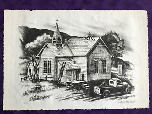 Robert Gilbert lithograph Roofing A Church Washington artist $25.00