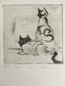 Etching of two cats quot;Bandit and Gossipquot; by Stacy Frank Artist Proof $40.00