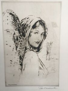 Collectible Art PAUL ASHBROOK ETCHING Woman w Basket SIGNED Watermarked Paper $350.00