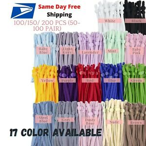100 200 Pcs 1 4 inch Elastic Cord Band String with Adjustable Buckle for Mask $16.89