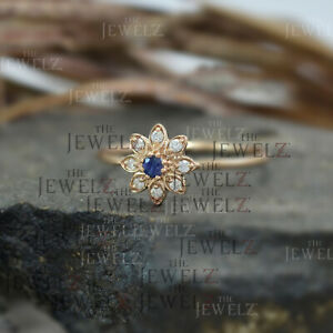 14K Gold Genuine Diamond And Blue Sapphire Flower Design Ring Fine Jewelry