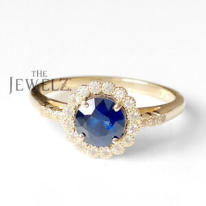 14K Gold Genuine Diamond Blue Sapphire Gemstone Floral Halo Ring Fine Jewelry