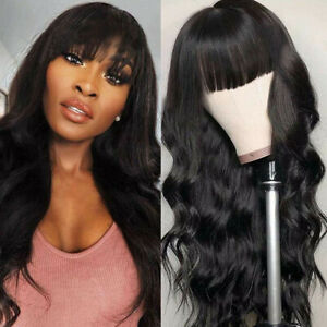 Black Long Water Wave Synthetic Lace Front Wigs for Black Women Heat Fiber Hair