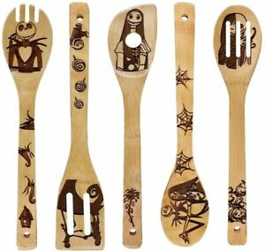 Kitchen Slotted Spoon Nightmare Before Christmas Bamboo Cooking Utensil 5 Pc Set $25.99