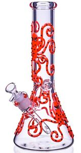 """BIG Octopus 11"""" Inch Glow In The Dark BONG Bubbler UNIQUE Glass Water Pipe *USA* $65.99"""