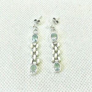 MILOR STERLING TOPAZ? AQUAMARINE?EARRINGS DROP CHAIN 925 MADE IN ITALY IMPRESSED