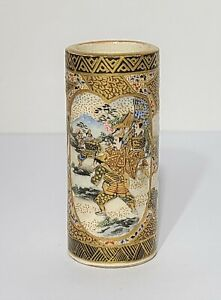 Antique Japanese Meiji Period Satsuma Miniature Brush Pot Vase
