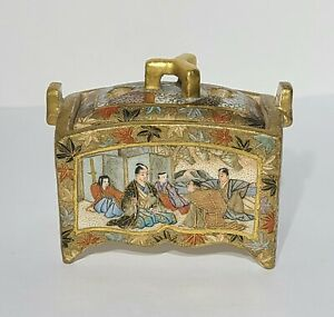 Antique Japanese Meiji Period Satsuma Miniature Censer Box