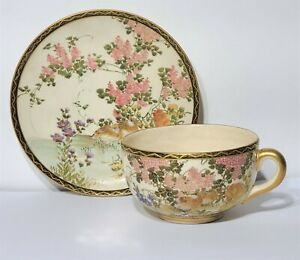 Antique Japanese Meiji Period Satsuma Cup  Saucer