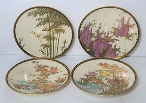 Set 4 Antique Japanese Meiji Period Satsuma Plates Dishes 6 1 4