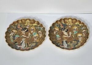 Pair Antique Japanese Meiji Period Satsuma Saucer Dishes Signed
