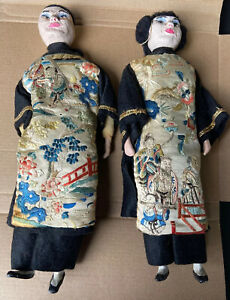 Antique Pair Of Chinese Dolls Beautifully Hand Embroidered Silk Clothes $304.99