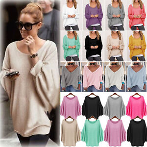 Women Batwing Sleeve T Shirt Knitwear Jumper Solid Sweater Pullover Tunic Top US $14.71