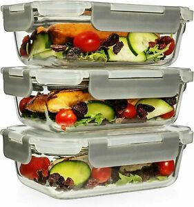 6 Piece 22 Oz Superior Glass Food Storage Containers Set of 3 Retails $29.99 $17.99