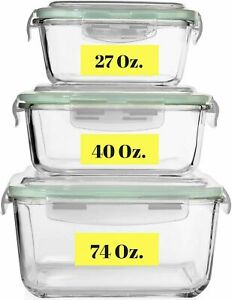 Extra Large Glass Food Storage Containers w Airtight Lid 6 Pc 3 containers $44 $29.99