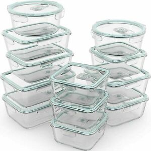 Razab 24pc 12 Containers Glass Food Storage Containers Airtight Lids $59.99