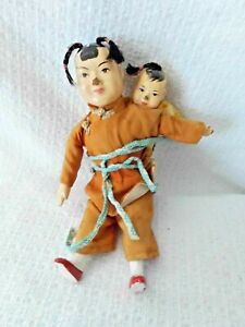 2 ANTIQUE COMPOSITION CHINESE DOLLS MOTHER amp; BABY $22.00