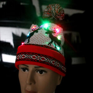 Christmas Outdoor USB LED Light up Beanie Hat Knit Cap Camping for Men Women
