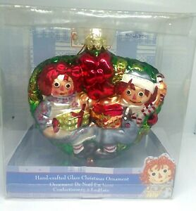 KURT ADLER Raggedy Ann and Andy Hand Crafted Glass Christmas Ornament $11.04