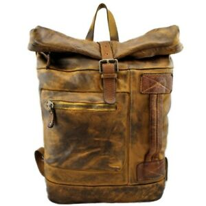 Bayside Backpack Big Leather Vintage Garment dyed Made IN Italy BS 429 RR