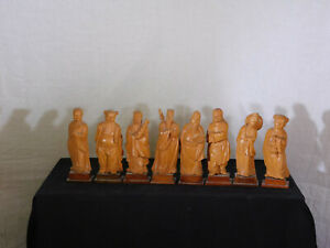 Chinese Qing Dy Hand Carved Hard Wood Sculptures of quot;8 Immortalsquot; Statues $1000.00