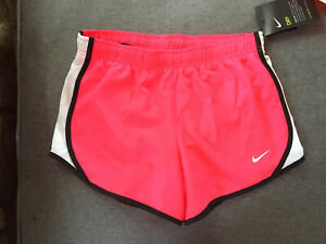 NWT Nike Girls Tempo Shorts Dri Fit size Medium Pink White Black $9.99