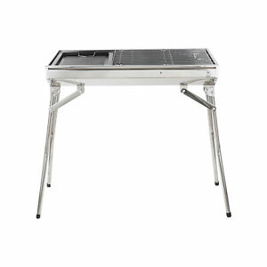 Portable Backyard Charcoal BBQ Grill Household Stainless Steel BBQ Silver