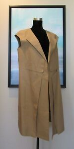 MARNI Brown Paper Bag Origami Minimalist Cotton Long Vest Italy Sz 46