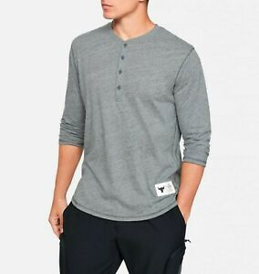 Under Armour Mens UA X Project Rock ¾ Sleeve Henley 1346095 012 Gray White NWT $27.98