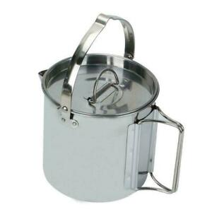 Outdoor Camping Hanging Pot 1.2L Stainless Steel Picnic Hot Kettle Lids X8P5