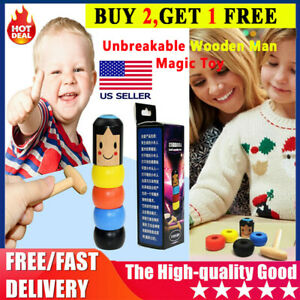 Unbreakable Wooden Man Magic Toy Small Wooden Toy Tumbler Christmas Gift for Kid $8.29