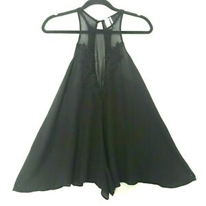 Out From Under Womens Black Halter Loose Flowing Romper Size Small $26.12