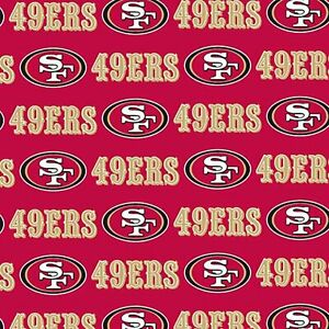San Francisco 49ers Fabric by the Yard or Half Yard Licensed NFL Cotton Fabric