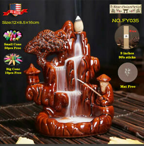 Ceramic Backflow Incense Cone Burner Moutain Waterfall FY035 amp; 10pcs Cones Gift
