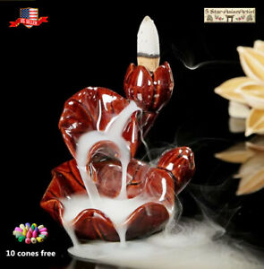 Ceramic Backflow Incense Cone Burner Holder Lotus WaterfallF 051amp; 10 Cones Gift