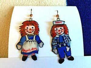 Raggedy Ann amp; Andy Hand Painted Earrings Local Artist Lightweight Acrylic $26.00