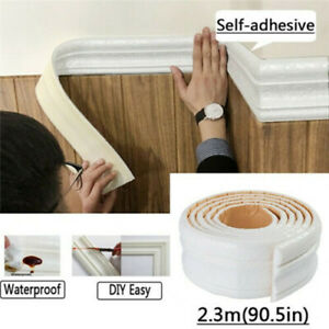 3D Self adhesive Wall Sticker Molding Skirting Lines Mural Border Home Decors $5.18