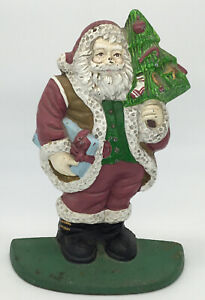 vintage Cast Iron Christmas Santa Claus Door Stop Painted Holding Tree Gift $36.94