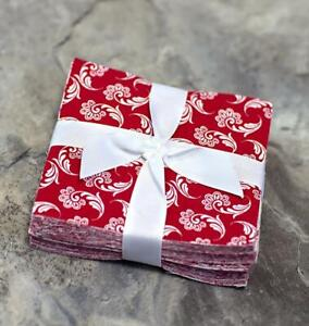 Red and White pre cut charm pack 5quot; squares 100% cotton fabric quilt 102 pieces $13.50