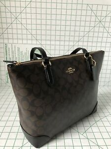 Coach F29208 Signature Coated Canvas Zip Top Tote Bag In Brown Black