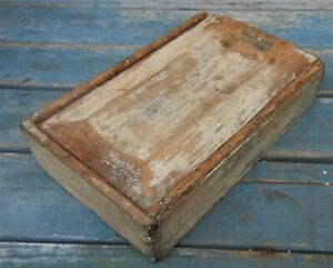 Very Good Antique American Slide Top Spice Box In Good Old White Paint $130.00