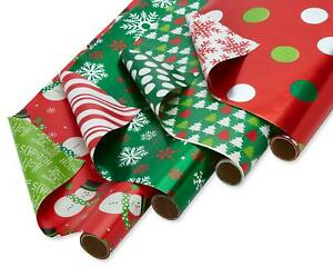 American Greetings Red and Green Reversible Foil Christmas Wrapping Paper 4 Pa $29.50