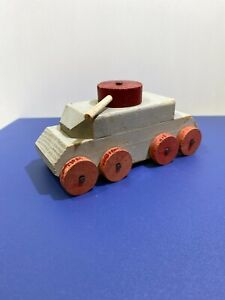 Vintage Wood Wooden Military Tank Toy Rotating Gun Turret $24.00