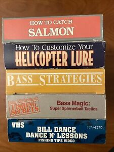 Lot Of 5 Fishing VHS Tapes Bass Lessons Strategies Tactics Helicopter Lure