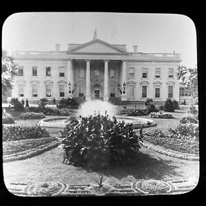 Vtg Keystone Magic Lantern Glass Slide Photo The White House United States