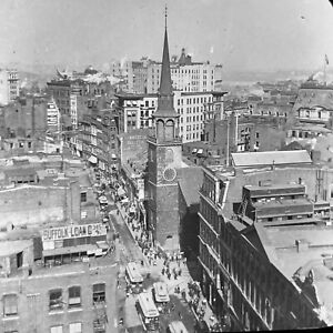 Vtg Keystone Magic Lantern Glass Slide Photo Washington Street Boston Mass