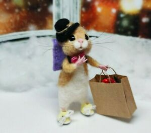 Needle Felted Mouse #x27;LEO#x27; Animal Artist Christmas Teddy Mice Gift Ooak $64.99